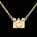 Gold Plated Classic Film Camera Pendant Necklace 16''