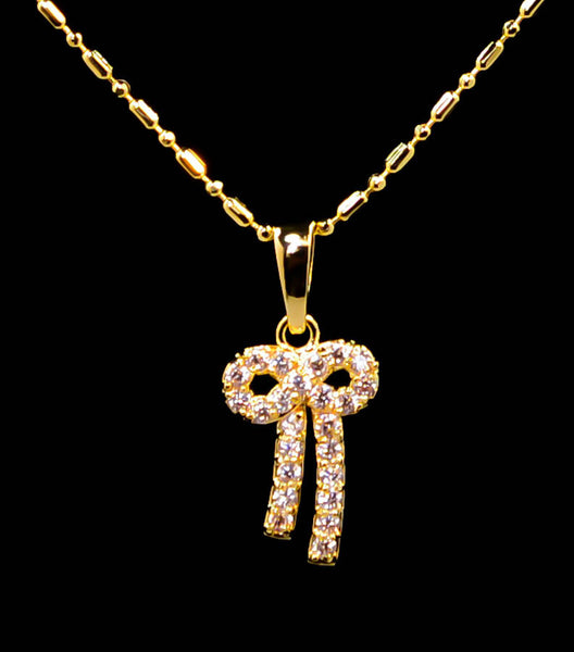 Gold Plated Bow Ribbon Pendant Necklace 16''