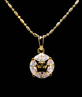 Cubic Zirconia Crown Center Pendant Necklace