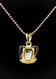 Open 3D Crown with Diamond inside Pendant Necklace