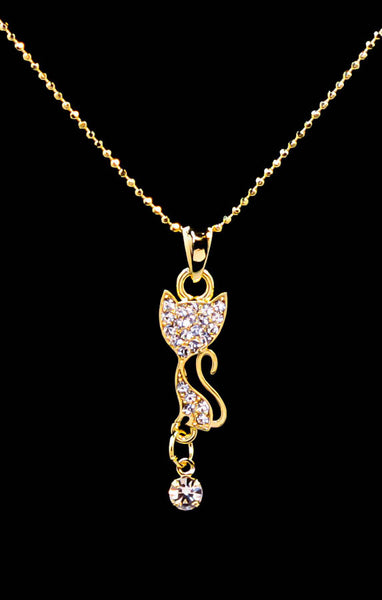 Cute Gold Plated Cat Pendant Necklace with Cubic Zirconia