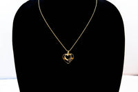 Gold Plated Double Heart Necklace with Cubic Zirconia