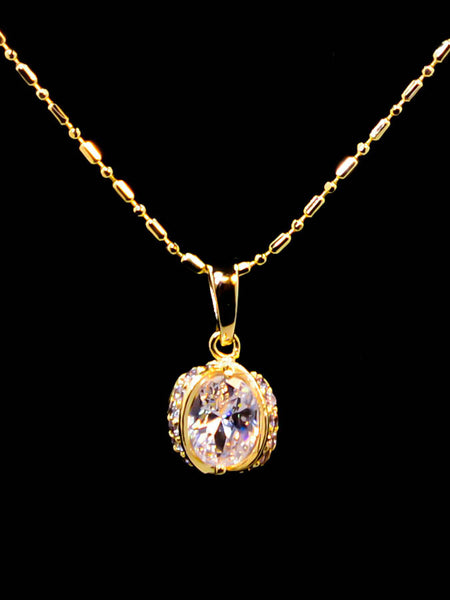 Gold Plated Diamond Pendant Necklace 16''
