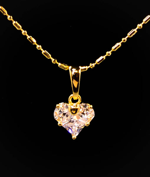 Very Cute Gold-Tone Cubic Zirconia Heart Pendant Necklace