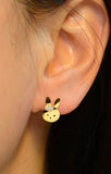 Bunny Face with Cubic Zirconia Earrings