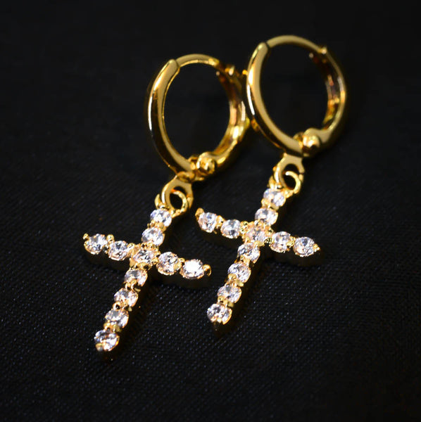 Cubic Zirconia Gold-Tone Cross Drop Earrings