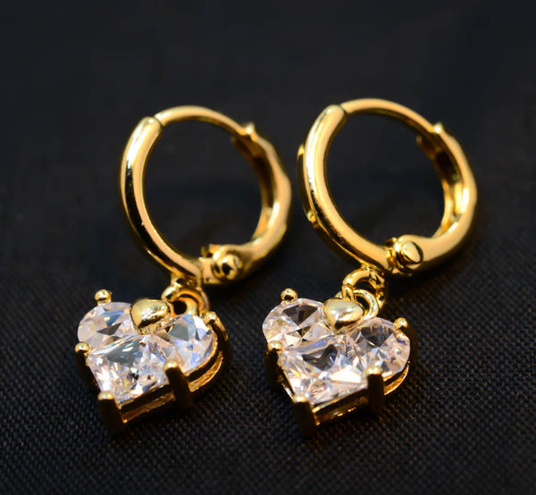 Cubic Zirconia Goldtone Finish Heart Earrings
