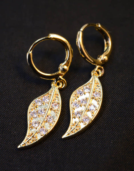 Drop Down Gold-Tone Leaf Earrings with Cubic Zirconia