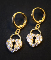 Crystal Gold Dangle Heart Lock Earrings