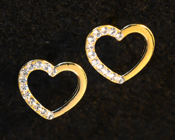 Gold Heart Crystal Earrings