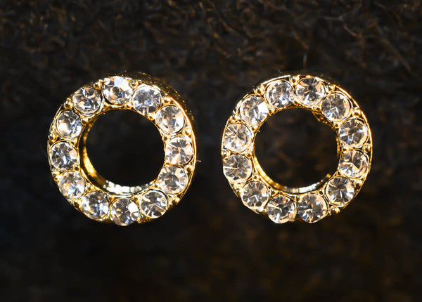 Circle Gold Plated Stud Earrings