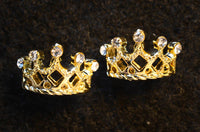 Gold Round Princess Crown Earrings with Cubic Zirconia