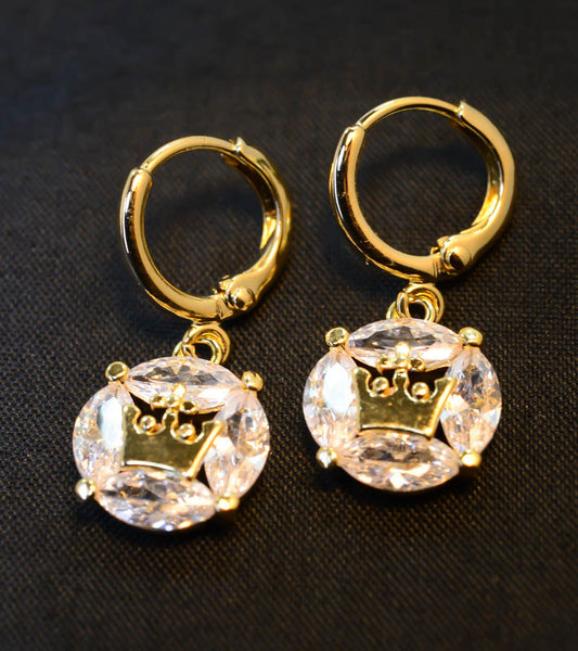 Gold-Tone Crown Centered Cubic Zirconia Earrings