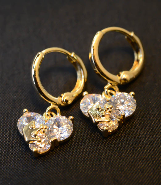 Cubic Zirconia Gold-Tone Heart with Crown Earrings