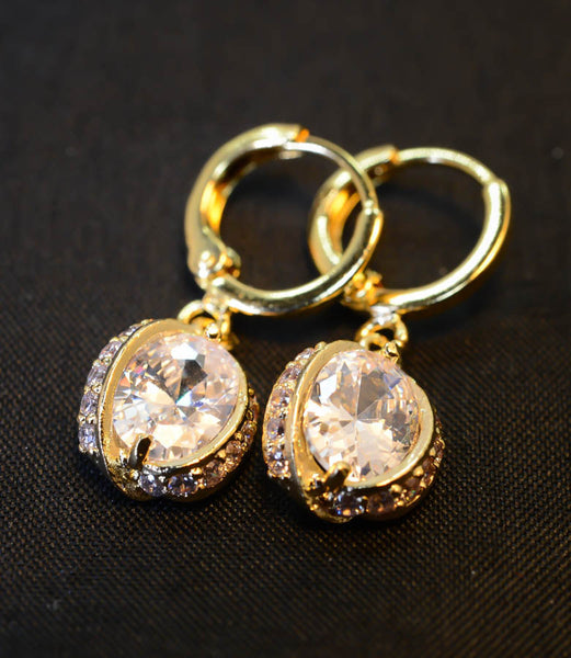 Cubic Zirconia Gold Plated Earrings