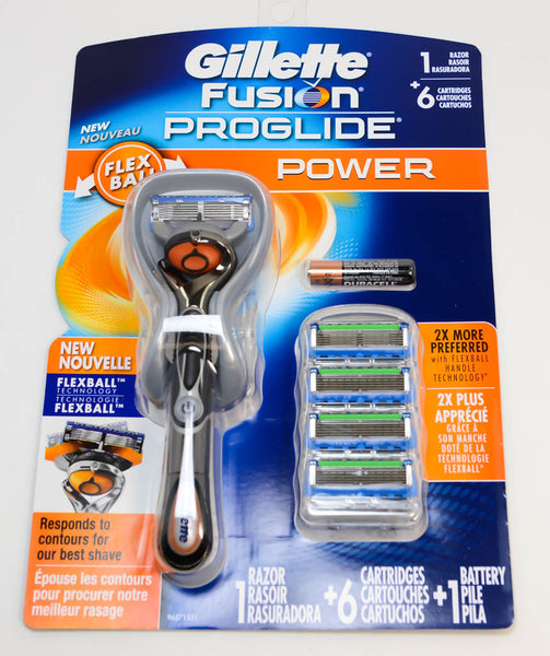 Gillette Fusion Proglide Power 1 Razor + 6 Cartidges