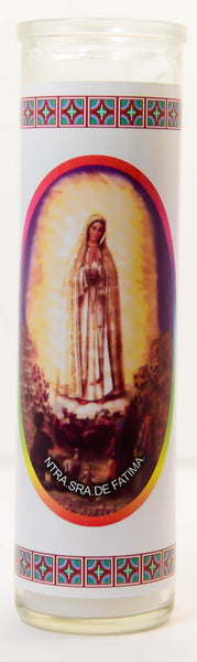 Prayer to our Lady of Fatima Glass Candle