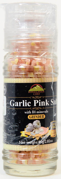 Garlic Pink Salt with 84 Minerals, Himalayan Chef, Grinder