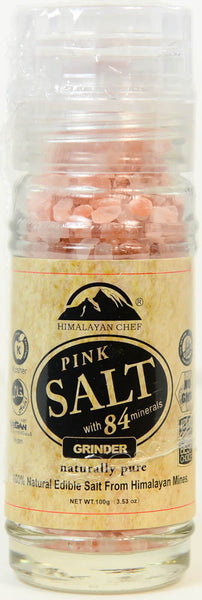 Pink Salt with 84 Minerals, Himalayan Chef Grinder