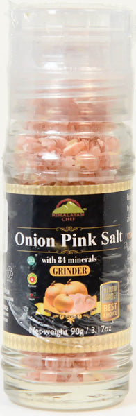 Onion Pink Salt with 84 Minerals, Himalayan Chef Grinder