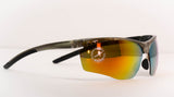 Yellow/Orange Mirror Coated Sports Sunglasses for Men