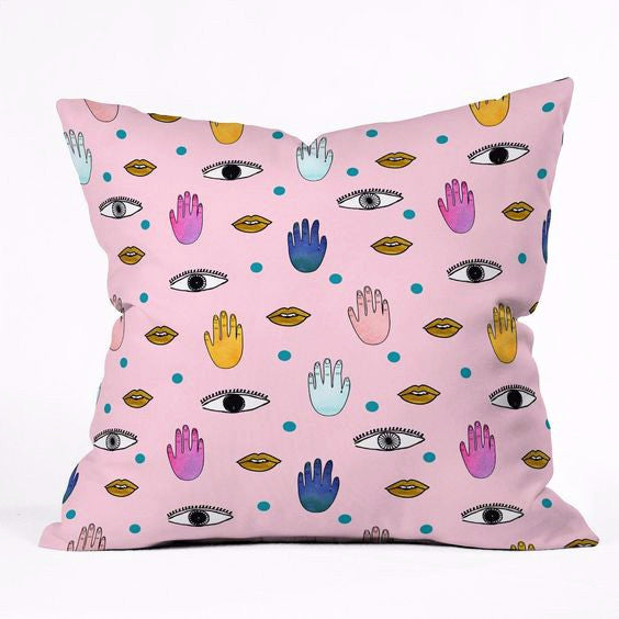 Throw Pillow: Eyes Lips Hands Dots