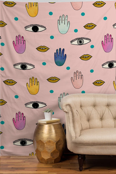 Wall Tapestry: Eyes Hands Lips Dots