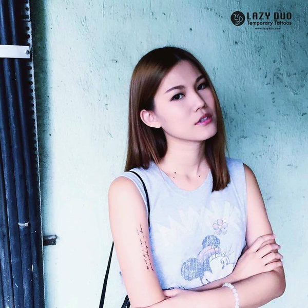 "@koyimak 麥芷誼 | Scorpio | Actress & Model • "" 失敗也比放棄更值得讚揚 "" quote temporary tattoos LAZY DUO"