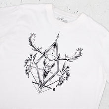 Load image into Gallery viewer, Deer Skull Graphic T-shirt in White - LAZY DUO TATTOO