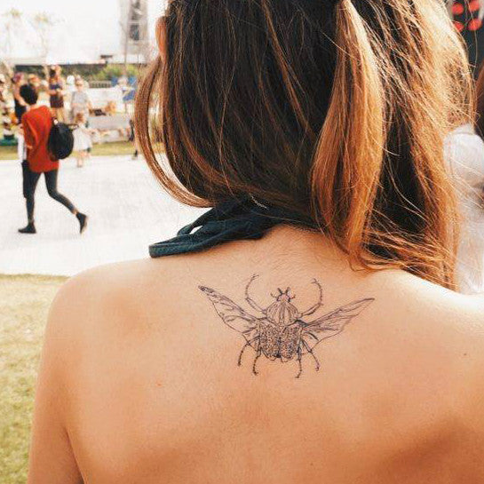 Animal Tattoo Insect Tattoo Bug Beetle LAZY DUO Tattoo Sticker 香港紋身貼紙 刺青圖案 紋身師 印刷訂做客製 Custom Temporary Tattoo artist HK tattoo shop Hong Kong 迷你刺青 韓式刺青紋身 small tattoo design Minimal Tattoo little tattoo idea sketchy tattoo floral tattoo ankle wrist tattoo back tattoo Taiwan