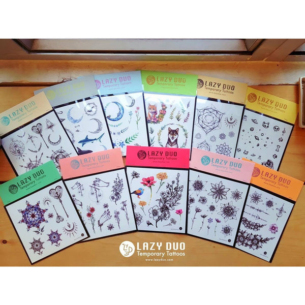 Flower Cat Tattoos Cute Tattoo Fun Delicate Watercolor LAZY DUO Tattoo Sticker 香港紋身貼紙 刺青圖案 紋身師 印刷訂做客製 Custom Temporary Tattoo artist HK tattoo shop Hong Kong 迷你刺青 韓式刺青紋身 small tattoo design Minimal Tattoo little tattoo idea sketchy tattoo floral tattoo ankle wrist tattoo back tattoo Taiwan