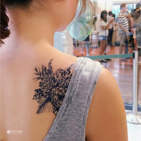 花卉 花束 玫瑰 簡約小清新迷你紋身貼紙 LAZY DUO 香港紋身設計刺青 Tattoo Sticker 紋身師 印刷訂做客製 Custom Temporary Tattoo artist HK tattoo shop Hong Kong 迷你刺青 韓式紋身 small tattoo design Minimal Tattoo little tattoo idea sketchy tattoo floral Flower Bouquet tattoo ankle wrist tattoo back tattoo Taiwan