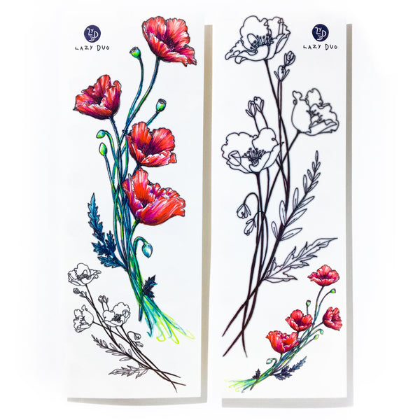 Red Poppy Flower Tattoo Stickers Minimal Poppy Flower Tattoos Delicate Floral Tattoo Watercolor Flower Tattoo LAZY DUOTemporary TattooLittle Tattoo Small Tattoo Rose Tattoo Sticker Fineline HK Hong Kong 刺青紋身貼紙 香港刺青圖案  印刷訂做客製 Custom Temporary Tattoo artist HK tattoo shop Hong Kong 迷你刺青 韓式刺青紋身 small tattoo design Minimal Tattoo little tattoo idea sketchy tattoo floral tattoo ankle wrist tattoo back tattoo Taiwan