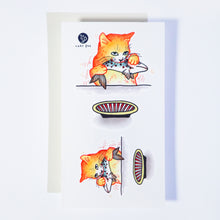 Load image into Gallery viewer, Life of Cat Feeding Tattoo Ideas Golden Kitten Tattoo Meow Naughty Cat Neko Tattoos HK Temporary Tattoo Sticker Water Color Tattoo LAZY DUO Tattoo Shop Hong Kong HK 愛玩百厭貓紋身黃貓浪浪喵寵物刺青 浪浪香港紋身貼紙刺青紋身師設計印刷訂做客製 Custom Temporary Tattoo Event Printing Tattooist artist HK tattoo shop MANE INK Tattooer Tattoo Artist Taiwan fine line ornament tattoo 台灣製 刺青師紋身師