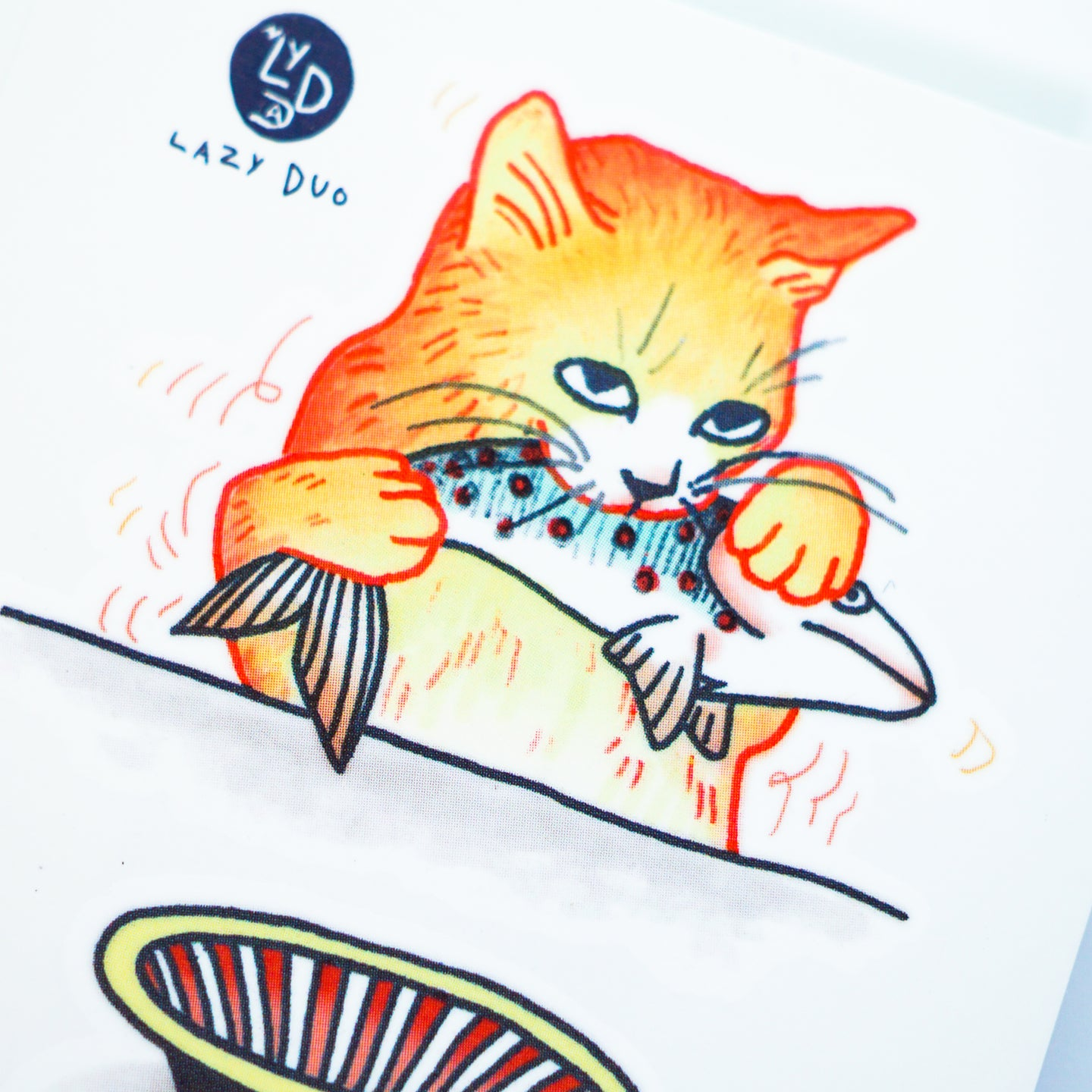 Cat Loves Fish Tattoo - LAZY DUO TATTOLife of Cat Feeding Tattoo Ideas Golden Kitten Tattoo Meow Naughty Cat Neko Tattoos HK Temporary Tattoo Sticker Water Color Tattoo LAZY DUO Tattoo Shop Hong Kong HK 愛玩百厭貓紋身黃貓浪浪喵寵物刺青 浪浪香港紋身貼紙刺青紋身師設計印刷訂做客製 Custom Temporary Tattoo Event Printing Tattooist artist HK tattoo shop MANE INK Tattooer Tattoo Artist Taiwan fine line ornament tattoo 台灣製 刺青師紋身師 O