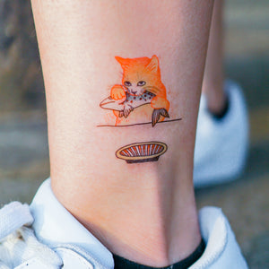Cat Loves Fish Tattoo - LAZY DUO TATTOO