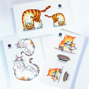 Life of Cat Feeding Tattoo Ideas Golden Kitten Tattoo Meow Naughty Cat Neko Tattoos HK Temporary Tattoo Sticker Water Color Tattoo LAZY DUO Tattoo Shop Hong Kong HK 愛玩百厭貓紋身黃貓浪浪喵寵物刺青 浪浪香港紋身貼紙刺青紋身師設計印刷訂做客製 Custom Temporary Tattoo Event Printing Tattooist artist HK tattoo shop MANE INK Tattooer Tattoo Artist Taiwan fine line ornament tattoo 台灣製 刺青師紋身師