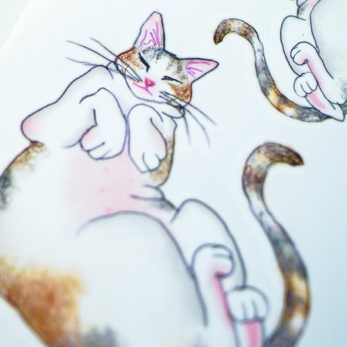 Belly Rubbing Calico Cat Tattoo - LAZY DUO TATTOO