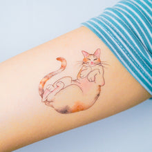 Load image into Gallery viewer, Sleepy Calico Cat Loves Belly Rubbing Tattoo Ideas Neko Golden Kitten Tattoo Meow Cat Neko Tattoos HK Temporary Tattoo Sticker Water Color Tattoo LAZY DUO Tattoo Shop Hong Kong HK 三色貓摸肚肚紋身貓女浪浪喵寵物刺青 浪浪香港紋身貼紙刺青紋身師設計印刷訂做客製 Custom Temporary Tattoo Event Printing Tattooist artist HK tattoo shop MANE INK Tattooer Tattoo Artist Taiwan fine line ornament tattoo 台灣製 刺青師紋身師