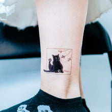 Load image into Gallery viewer, Black & White Cat Combo Tattoo ManE Ink HK Tattooist LAZY DUO Comic Style Playful Black Cat White Cat Tattoo Stickers 美漫風格黑貓紋身白貓玩耍合體技浪浪不哭喵咪寵物刺青香港紋身貼紙Kitten Tattoo Ideas Neko Tattoo Meow Animal Pet Tattoos HK Temporary Tattoo Sticker Water Color Tattoo LAZY DUO Tattoo Shop Hong Kong HK 紋身師設計印刷訂做客製 Custom Temporary Tattoo Event Printing Tattooist artist HK tattoo shop MANE INK Tattooer Tattoo Artist Taiwan fine line ornament tattoo 台灣製 刺青師紋身師