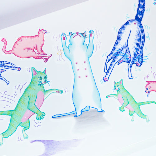 Dancing Cats Party Playful Disco Cat Playtime Doodle Tattoo Stickers Comic Style Fun ManE Ink HK Tattooist LAZY DUO 美漫風格粉彩貓戰士紋身浪浪不哭喵咪寵物刺青香港紋身貼紙Kitten Tattoo Ideas Neko Tattoo Meow Animal Pet Tattoos HK Temporary Tattoo Sticker Water Color Tattoo LAZY DUO Tattoo Shop Hong Kong HK 紋身師設計印刷訂做客製 Custom Temporary Tattoo Event Printing Tattooist artist HK tattoo shop MANE INK Tattooer Tattoo Artist Taiwan fine line ornament tattoo 台灣製 刺青師紋身師