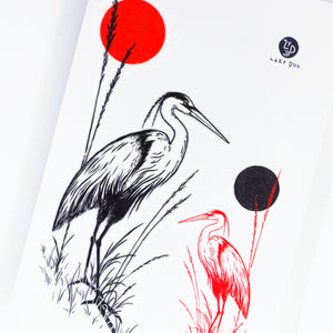 Black & Red Japanese Heron Tattoo - LAZY DUO TATTOO
