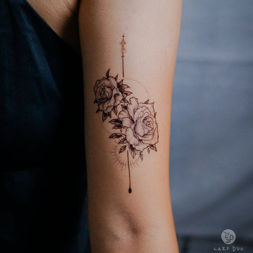 Alchemist Rose Tattoo|LAZY DUO TEMPORARY TATTOO STICKER Design Store HK HONG KONG 紋身貼紙 香港紋身認領圖 文青 美式花紋身tattoohk hongkongtattoo 小圖刺青 fine-line tattoo 簡約刺青 minitattoo linetattoo tattooartist 香港刺青 MANE INK
