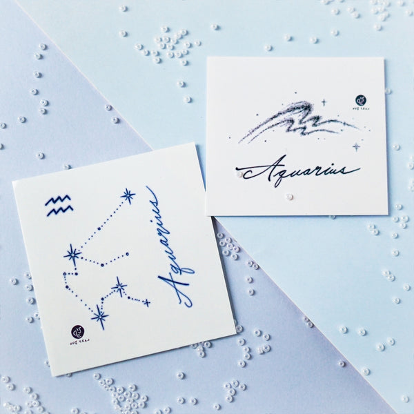 AQUARIUS Tattoo Inventive clever humanitarian friendly Minimal Zodiac Sign Tattoos Silver Metallic Tattoos UV Tattoo Sticker Zodiac Symbol Tattoos Minimal Tattoos LAZY DUO Realistic Temporary Tattoo HK Hong Kong 水瓶座星座刺青紋身貼紙