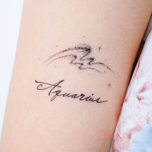 AQUARIUS Tattoo Inventive clever humanitarian friendly Minimal Zodiac Sign Tattoos Silver Metallic Tattoos UV Tattoo Sticker Zodiac Symbol Tattoos Minimal Tattoos LAZY DUO Realistic Temporary Tattoo HK Hong Kong 水瓶座紋身星座刺青貼紙