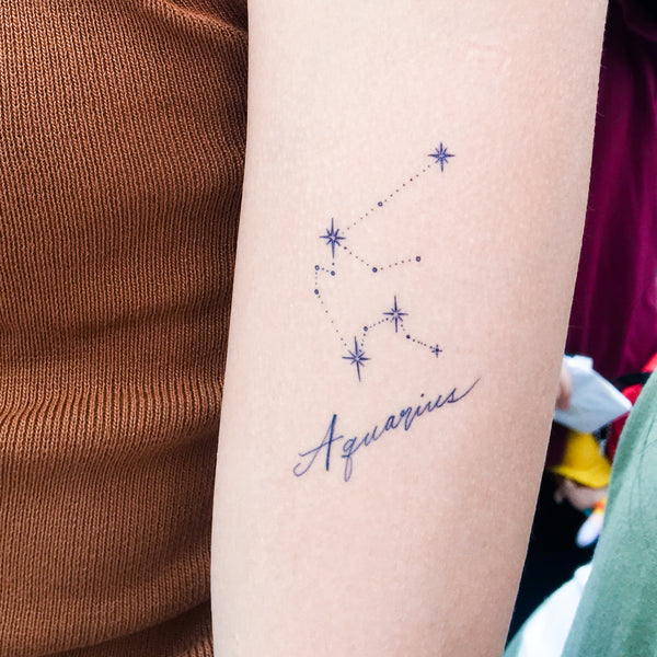 AQUARIUS Tattoo Inventive clever humanitarian friendly Minimal Zodiac Sign Tattoos Silver Metallic Tattoos UV Tattoo Sticker Zodiac Symbol Tattoos Minimal Tattoos LAZY DUO Realistic Temporary Tattoo HK Hong Kong 水瓶座紋身星座刺青