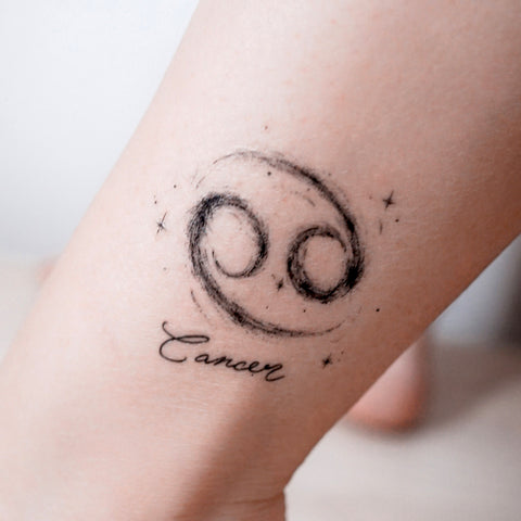 Cancer Tattoo Intuitive Nurturing Frugal Cautious Minimal Zodiac Sign Tattoos Silver Metallic Tattoos UV Tattoo Sticker Zodiac Symbol Tattoos Minimal Tattoos LAZY DUO Realistic Temporary Tattoo HK Hong Kong 巨蟹座紋身貼紙星座刺青香港紋身店
