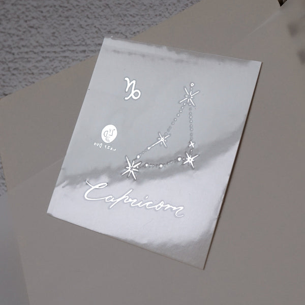 Capricorn Tattoo Minimal Zodiac Sign Tattoos Responsible persistent disciplined calm Silver Metallic Tattoos UV Tattoo Sticker Zodiac Symbol Tattoos Minimal Tattoos LAZY DUO Realistic Temporary Tattoo HK Hong Kong 摩羯座山羊座紋身貼紙星座刺青香港紋身店