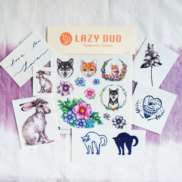 LAZY DUO Animal Shiba Dog Pet Puppy Rabbit Bunny Floral Flower Tattoo Sticker Animal HK水彩小鹿刺青紋身貼紙設計少量印刷訂做客製Hong Kong artist tattoo shop 迷你韓式刺青紋身師