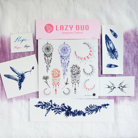 LAZY DUO Dreamcatcher Dreamy Moon Floral Feather HummingBird Swallow Hope Lettering Temporary Tattoo Sticker Animal HK水彩小鹿刺青紋身貼紙設計少量印刷訂做客製Hong Kong artist tattoo shop 迷你韓式刺青紋身師
